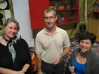 Seen at the Zimbabwean kitchen: from Te Manawa - Joanna, senior curator and Brent from the Exhibitions team; from Migrating Kitchen Trust - Christine, the Palmerston North facilitator